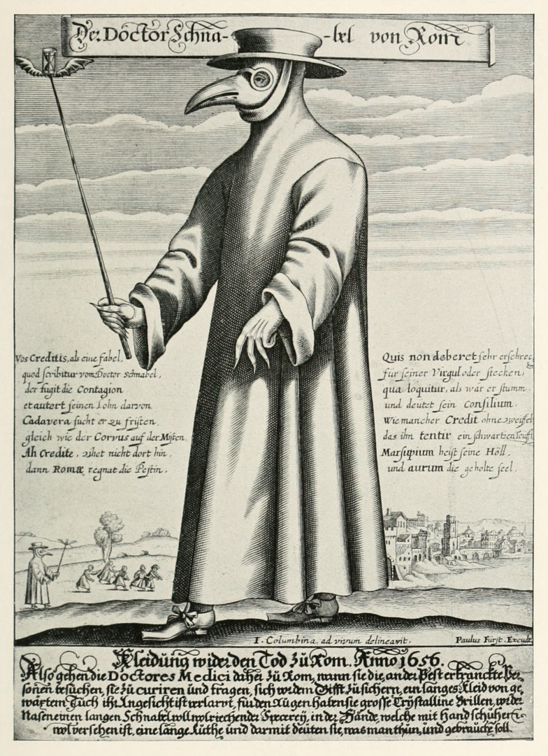 Médecin de la peste (gravure de Paul Fürst, 1656)